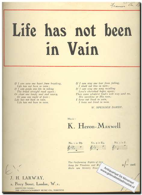 HERON-MAXWELL, K. - Life has not been in Vain
