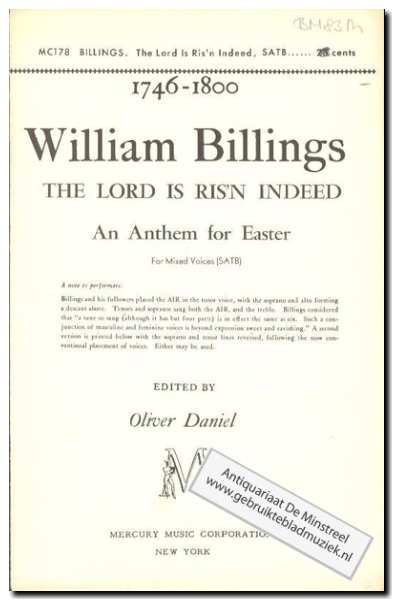 BILLINGS, W. - The Lord is ris'n indeed Antherm for Easter
